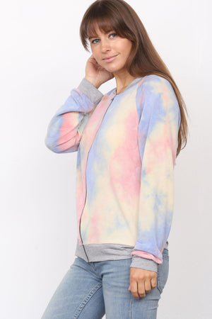 Pink & Baby Blue Tie Dye Bomber Jacket