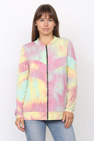 Pink & Yellow Tie Dye Chevron Bomber Jacket_Plus