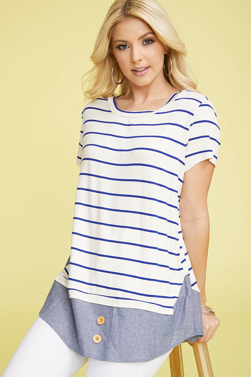 Navy Stripe Chambray Layered Top