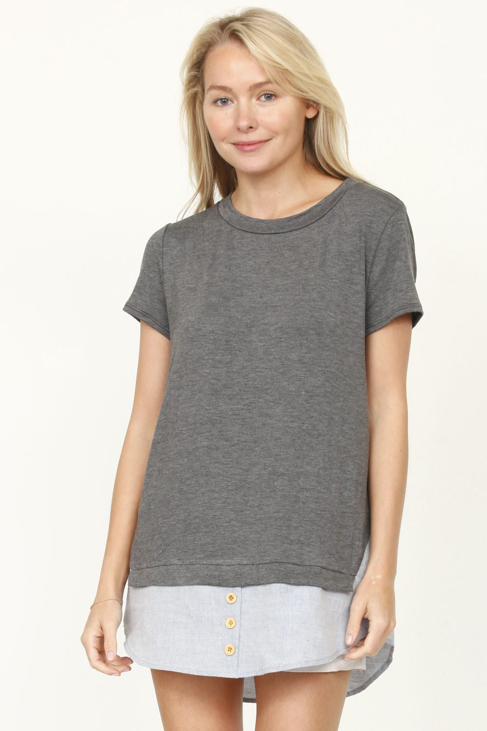 Charcoal Chambray Layered Top