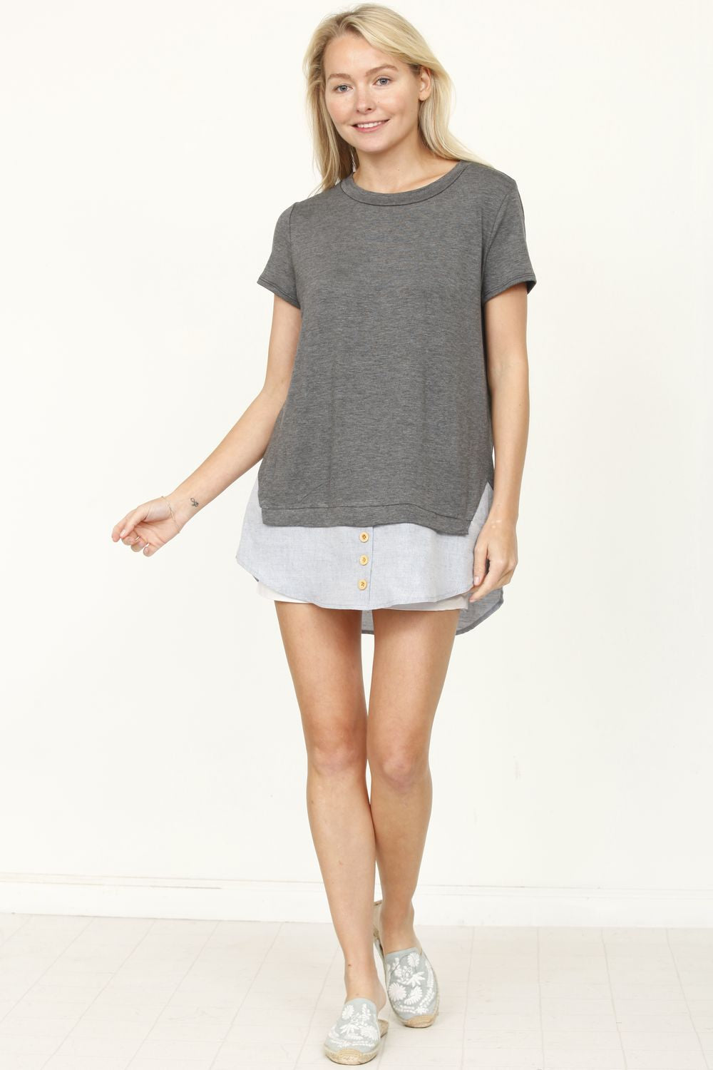 Charcoal Chambray Layered Top_Plus