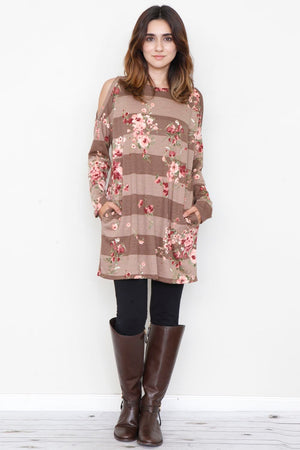 Mocha Stripe Floral Cold Shoulder Tunic