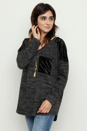 Black Velvet Front Pocket Tunic