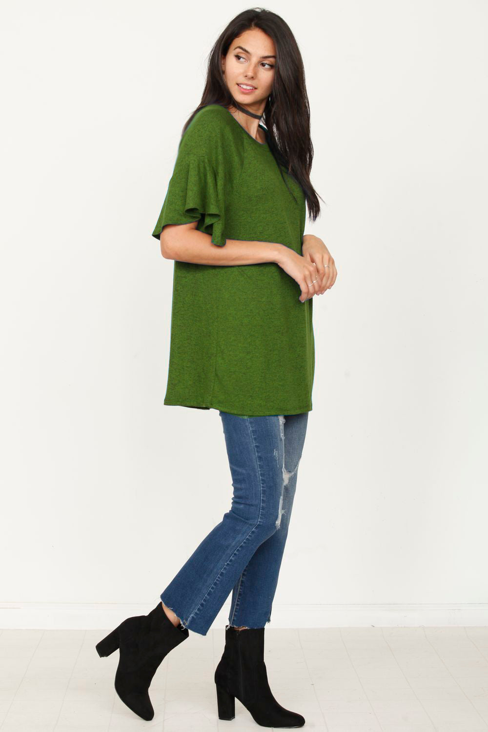 Olive Ruffle Short Sleeve Tunic