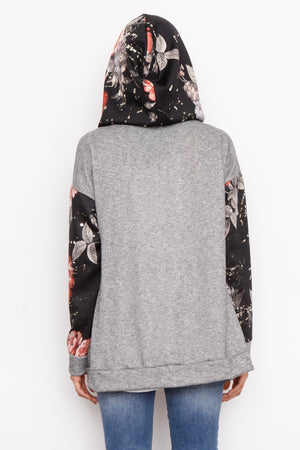 French Terry Black Floral Raglan Zip Up Hoodie