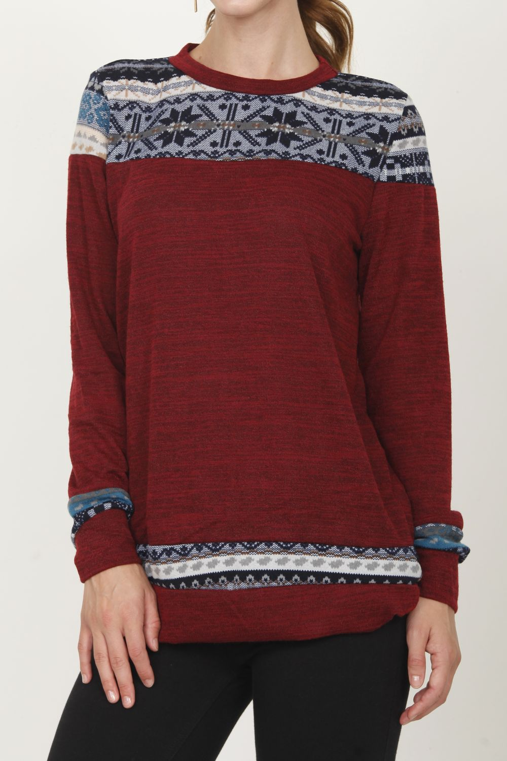 Burgundy & Blue Nordic Panel Top_L