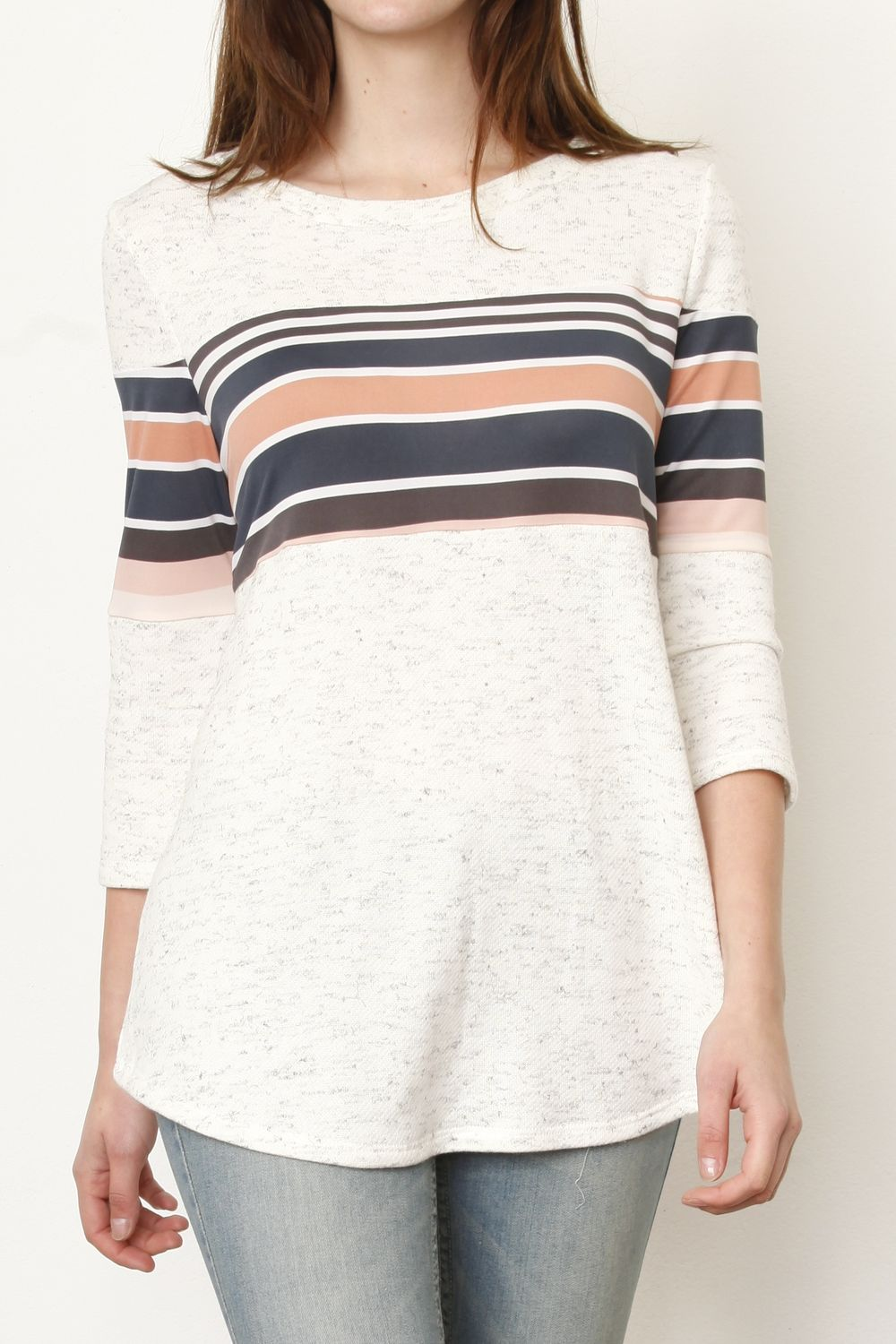 Ivory 3/4 Sleeve Pink & Navy Stripe Panel Tunic