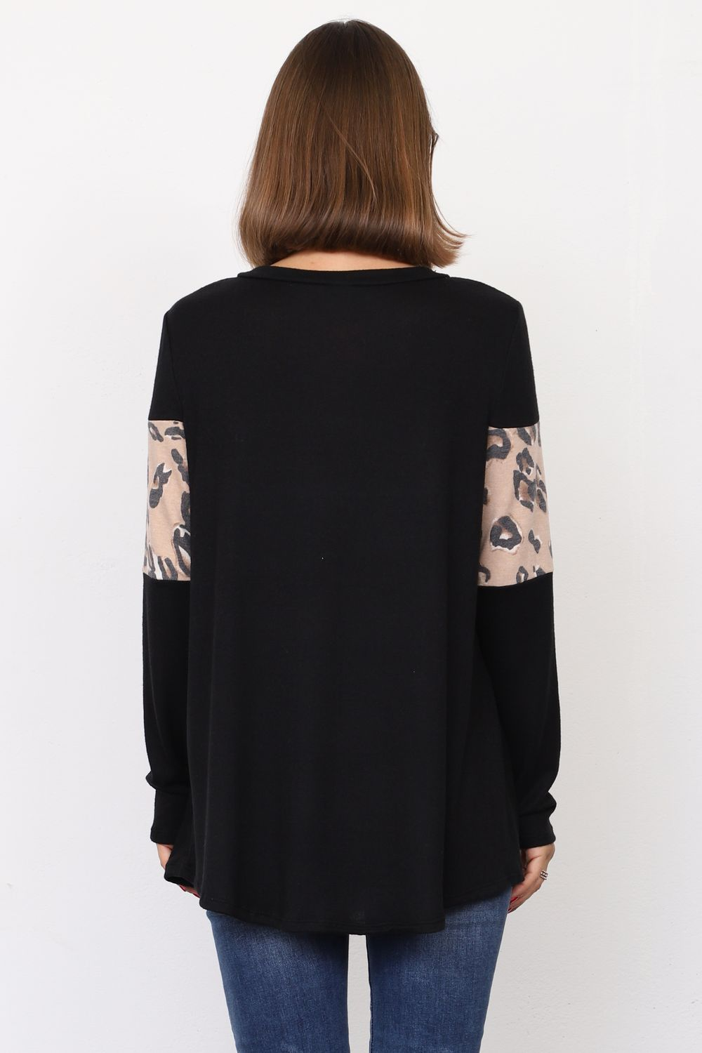 Black & Taupe Leopard Panel Tunic Top