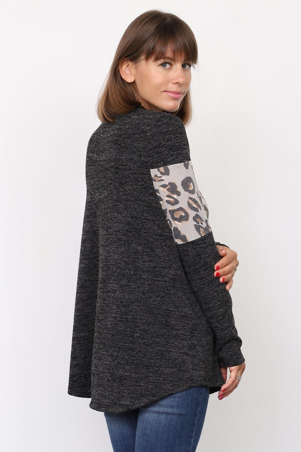 Charcoal & Grey Leopard Panel Tunic Top