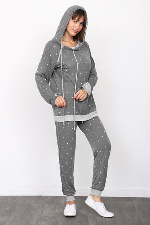 Charcoal Polka Dot Hoodie & Jogger Set_Plus