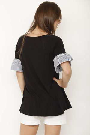 Black Stripe Double Ruffle Sleeve Tunic_Plus