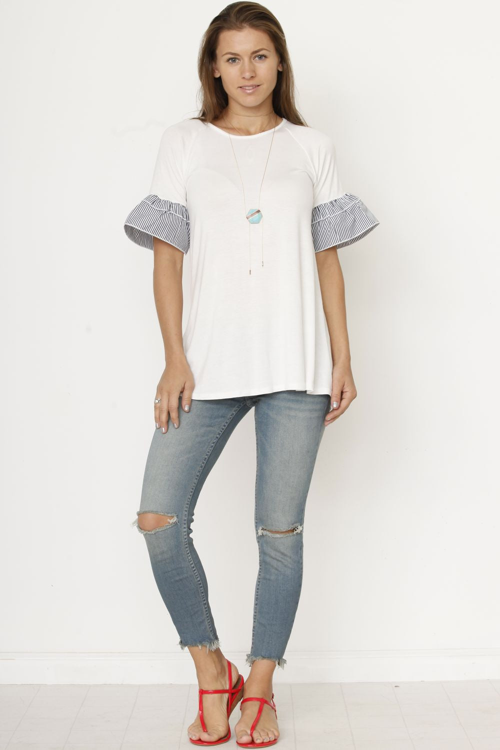 White Stripe Double Ruffle Sleeve Tunic