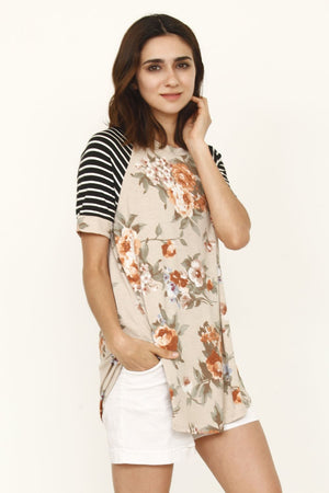 Taupe Coral Floral Black Stripe Raglan Sleeve Top_Plus