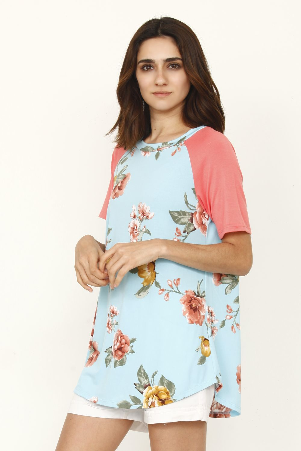 Mint Floral Coral Raglan Sleeve Top