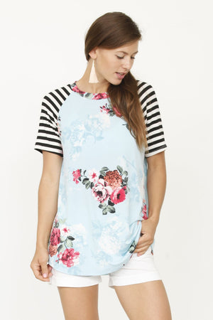 Mint Floral Black Stripe Raglan Sleeve Top