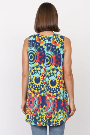 Multi Color Medallion Sleeveless Tunic_Plus