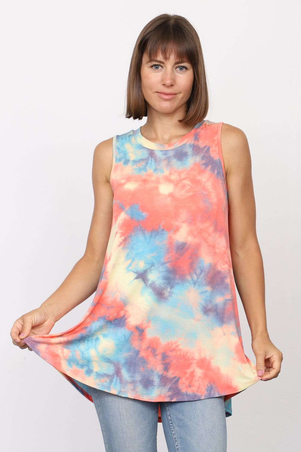 Tropical Tie Dye Sleeveless Tunic_Plus