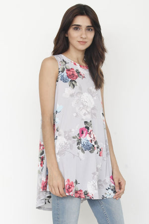 Grey Floral Sleeveless High-low Tunic_Plus