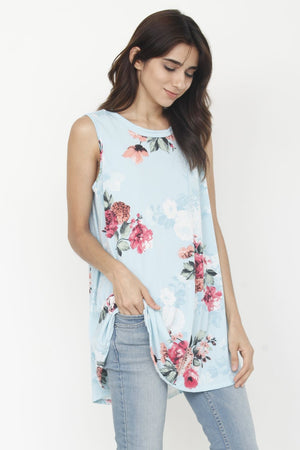 Mint Floral Sleeveless High-low Tunic_Plus