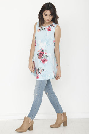 Mint Floral Sleeveless High-low Tunic