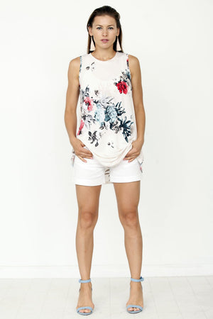 Ivory Floral Sleeveless High-low Tunic
