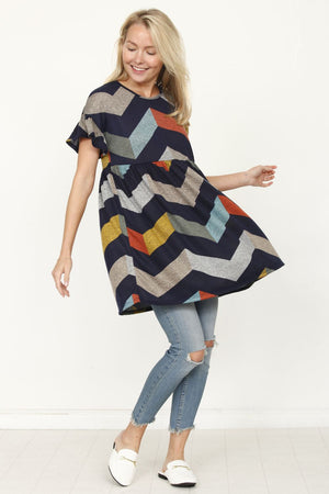 Navy & Multi Color Chevron Empire Waist Ruffle Sleeve Tunic_Plus