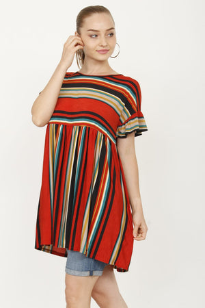 Orange & Black Stripe Multi Way Ruffle Sleeve Tunic