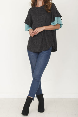 Black & Mint Double Ruffle Sleeve Tunic_Plus