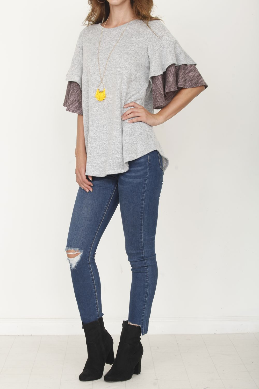 Grey & Pink Double Ruffle Sleeve Tunic_Plus