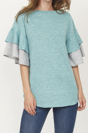 Mint & Grey Double Ruffle Sleeve Tunic_Plus