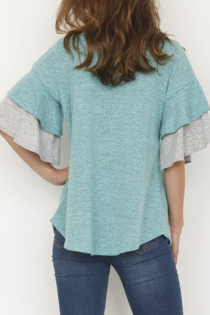 Mint & Grey Double Ruffle Sleeve Tunic
