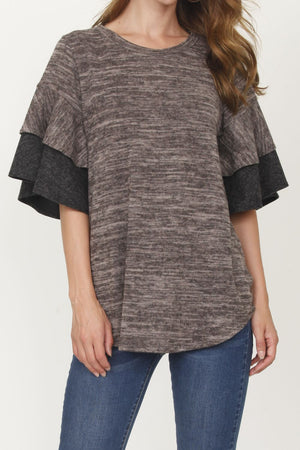 Mocha & Charcoal Double Ruffle Sleeve Tunic_Plus