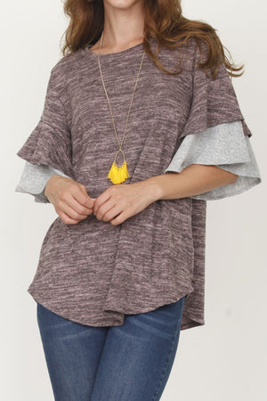 Pink & Grey Double Ruffle Sleeve Tunic_Plus