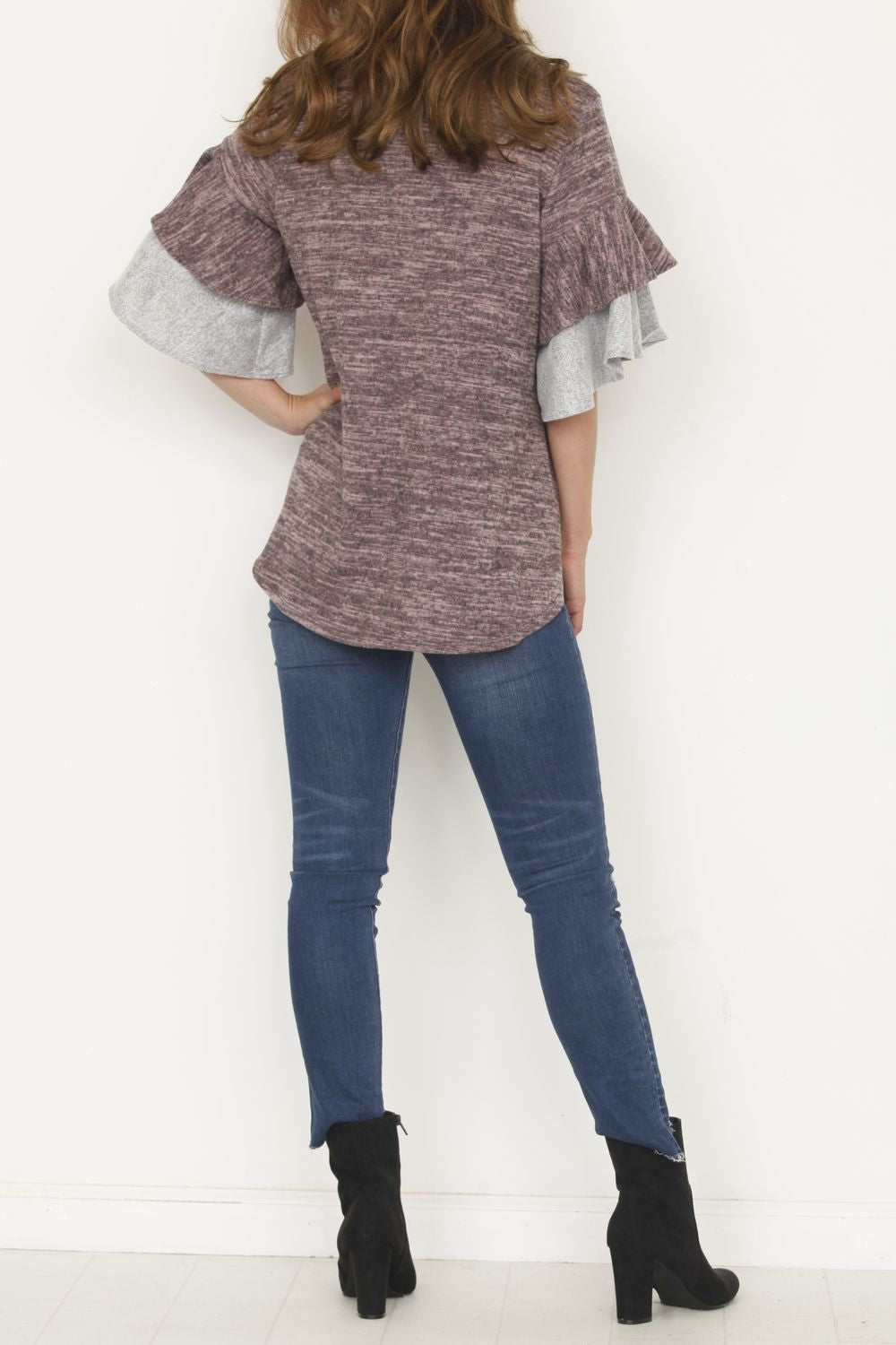 Pink & Grey Double Ruffle Sleeve Tunic