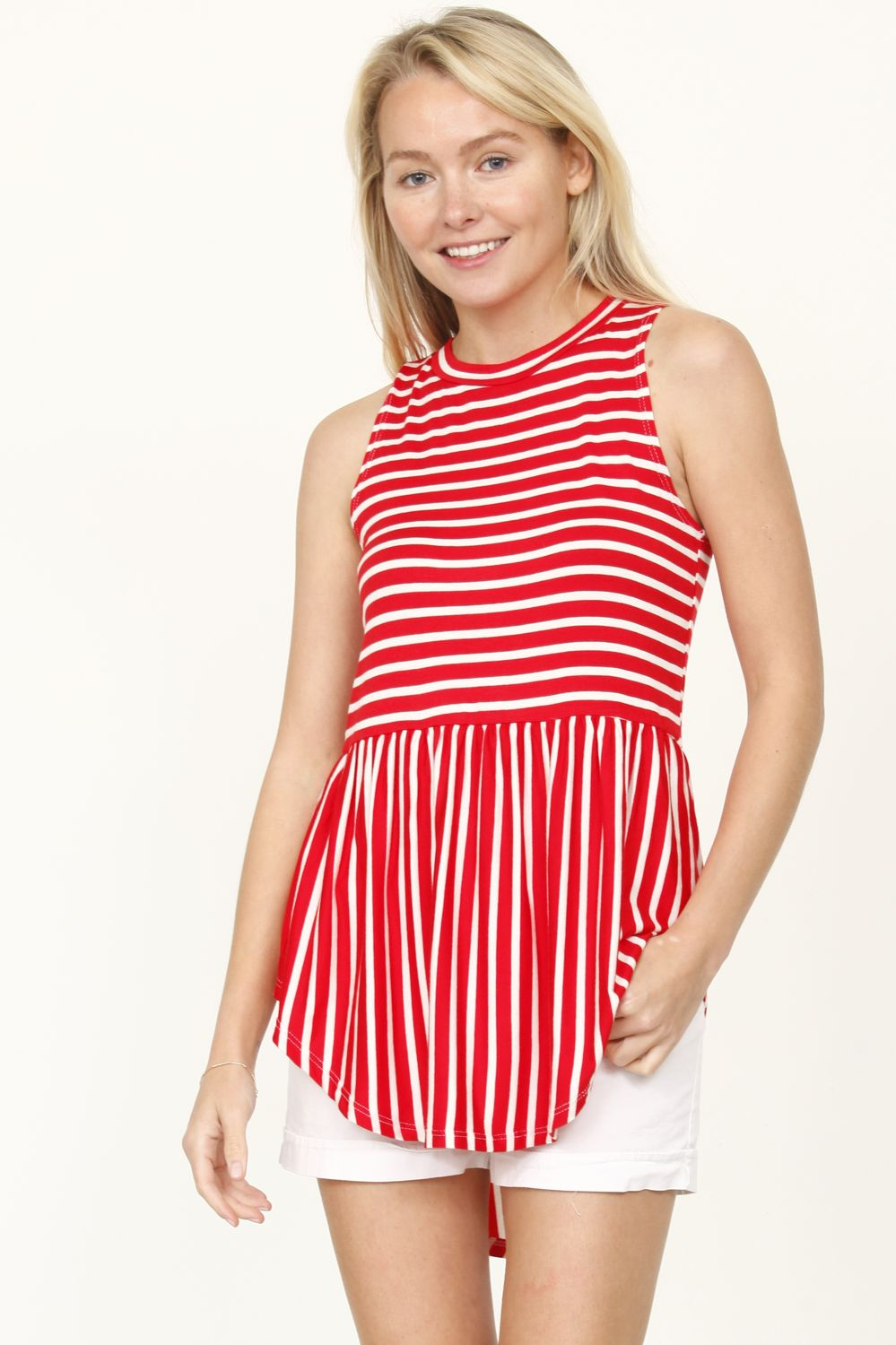 Red Sleeveless Curved Hem Top