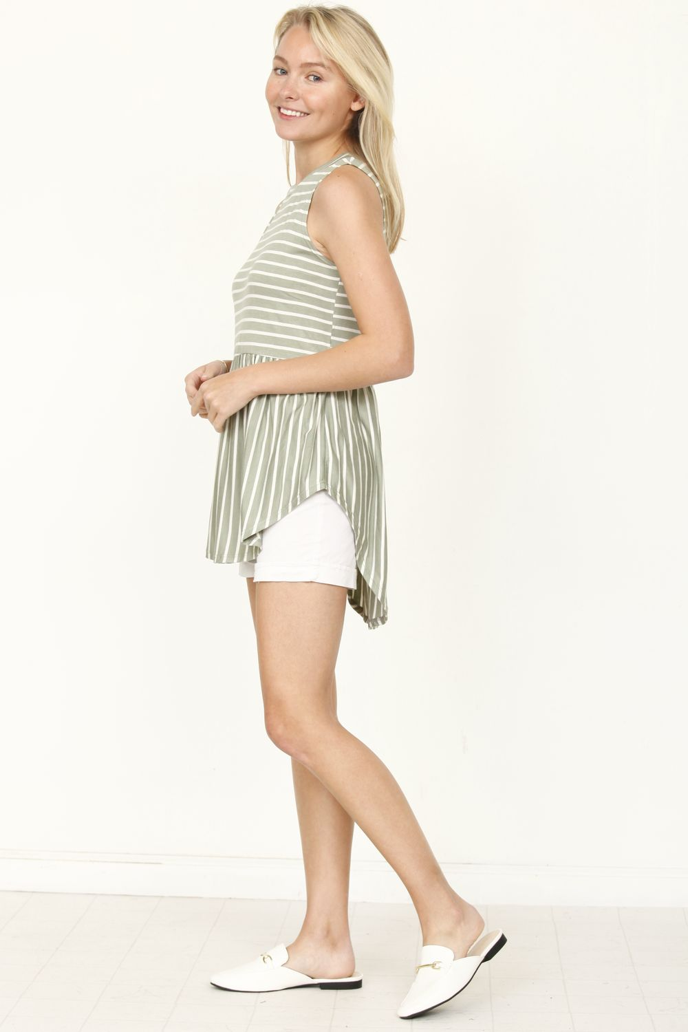 Olive Sleeveless Curved Hem Top