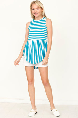 Cyan Sleeveless Curved Hem Top