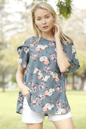Cadet Blue Floral Tulip Ruffle Sleeve Top_Plus