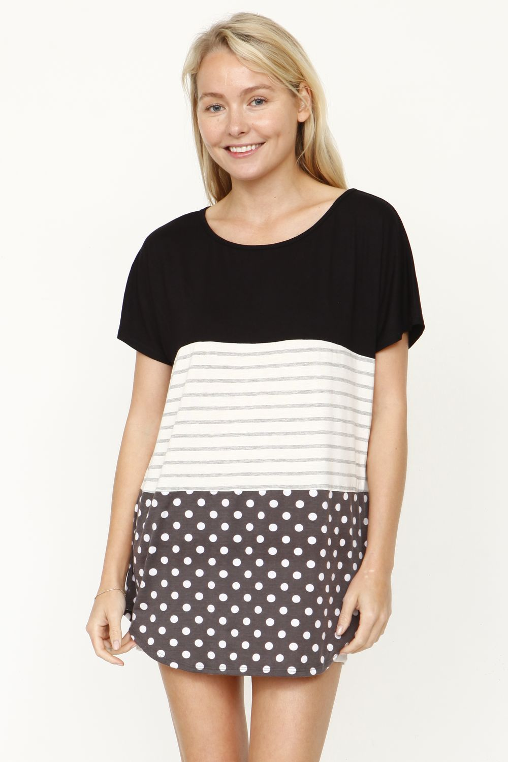 Black & Charcoal Polka Dot Color-Block Top