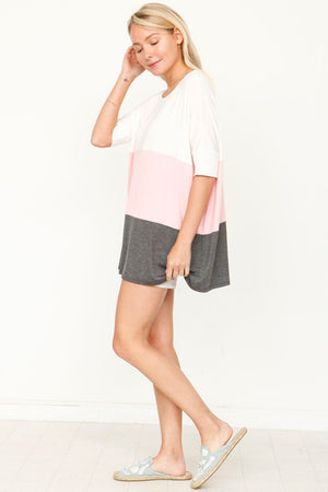 Dusty Pink & Charcoal Color-Block Top