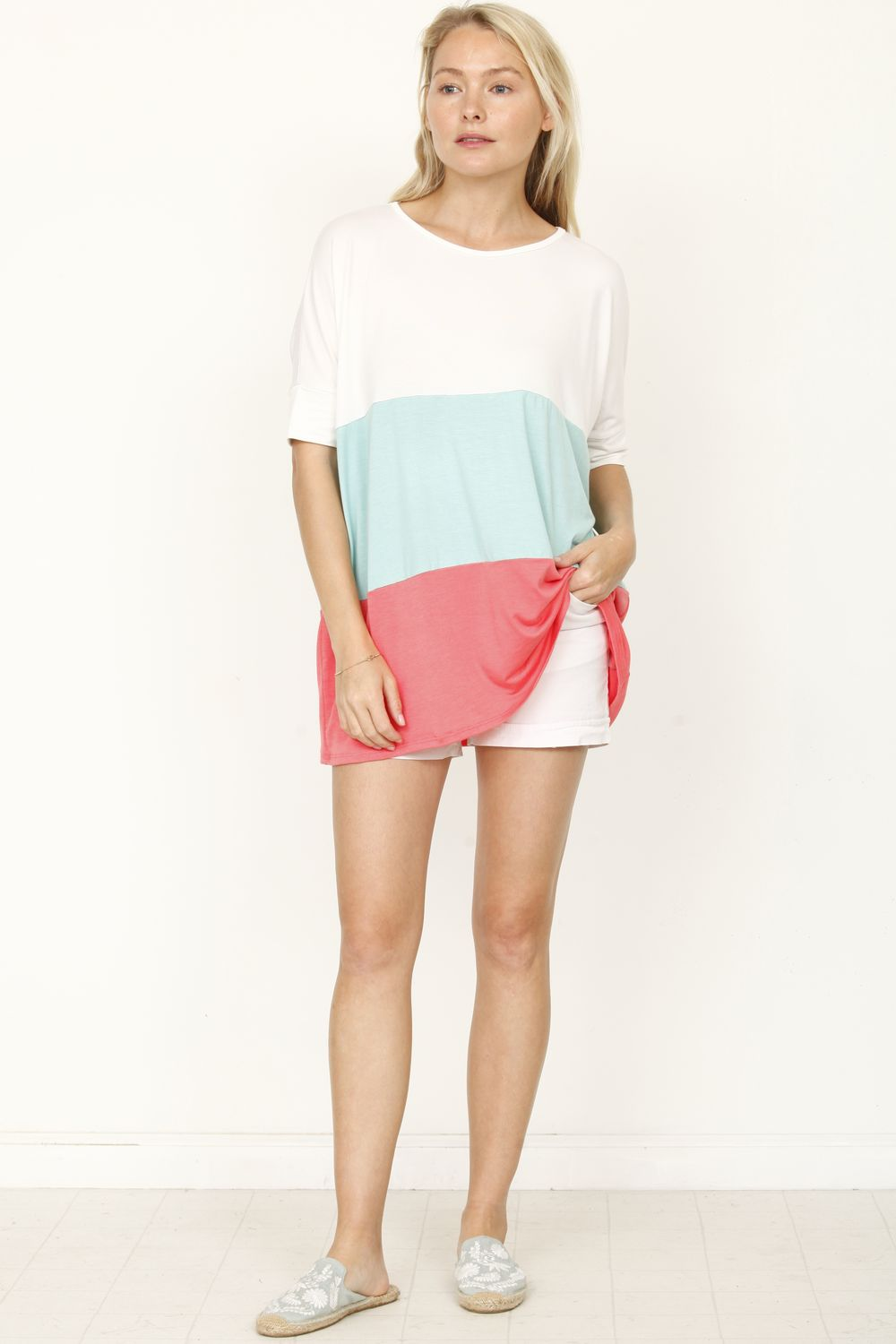 Mint & Coral Color-Block Top