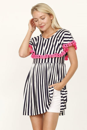 Navy Stripe Ruffle Sleeve Empire Waist Tunic with Neon Pink Tassel