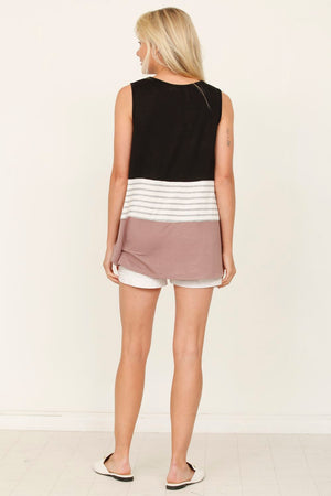 Black & Mocha Sleeveless Color-Block Top_Plus