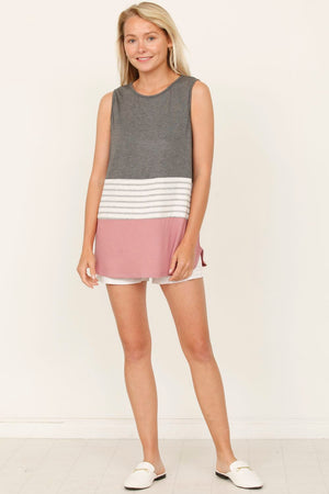 Charcoal & Dusty Pink Sleeveless Color-Block Top_Plus