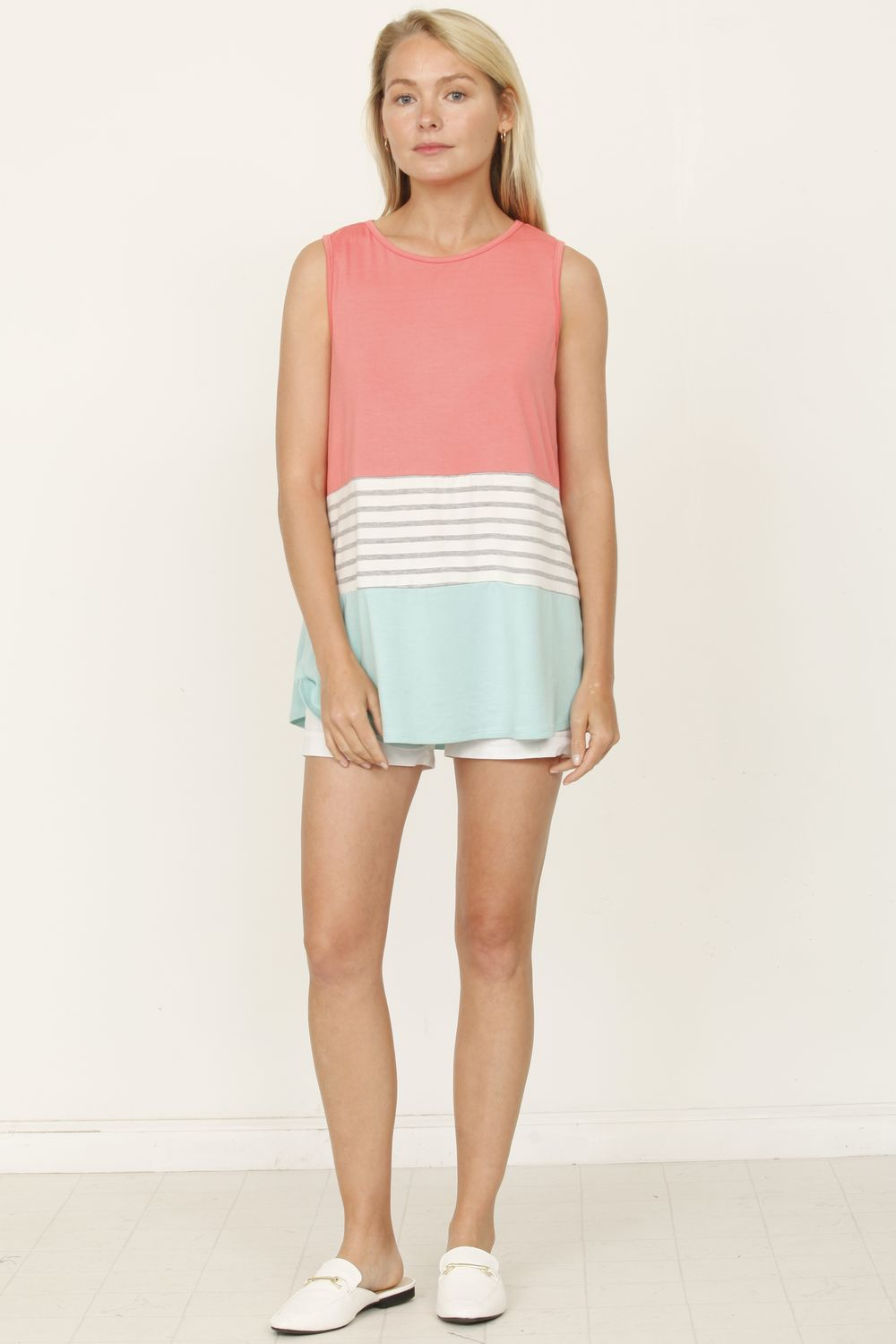 Coral & Mint Sleeveless Color-Block Top_Plus