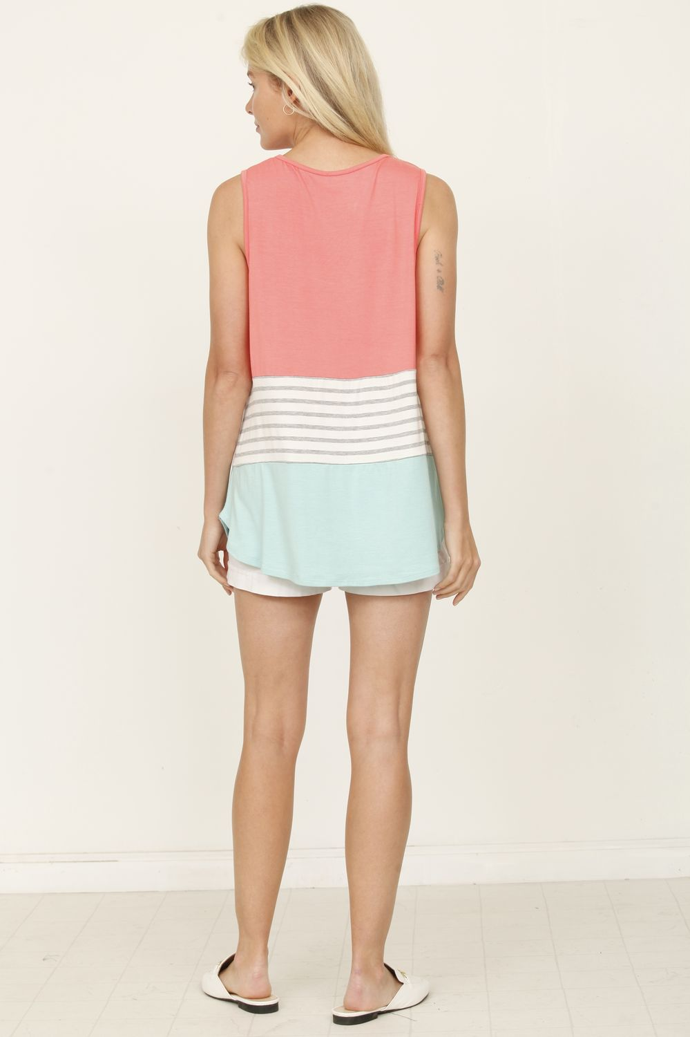 Coral & Mint Sleeveless Color-Block Top