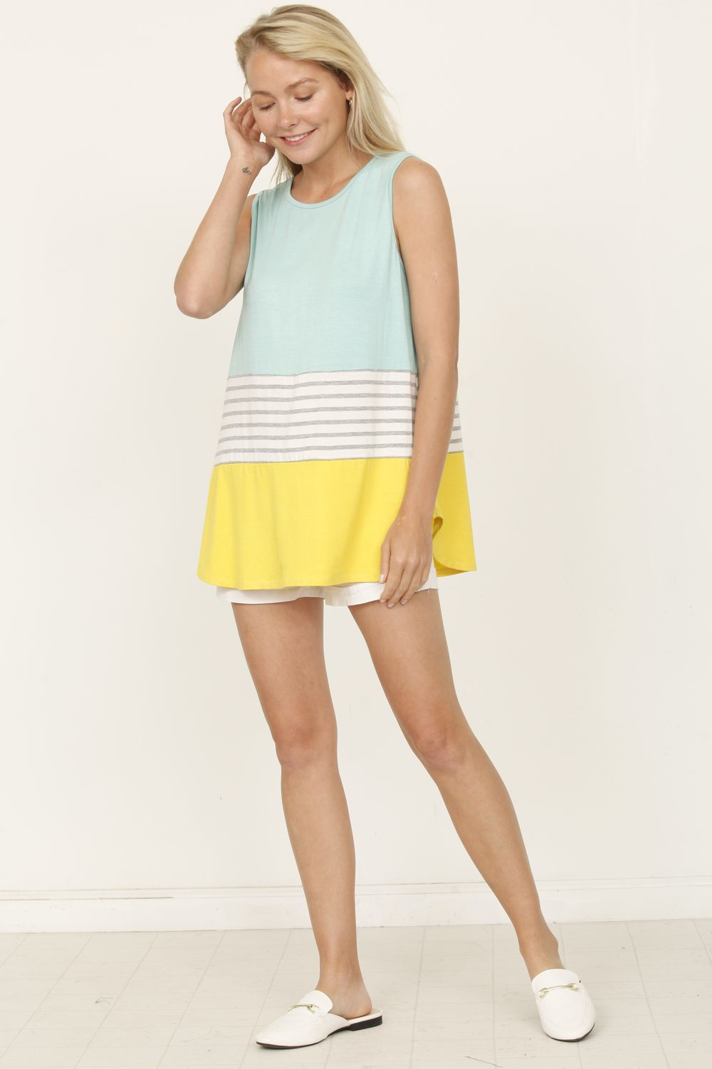 Mint & Yellow Sleeveless Color-Block Top_Plus
