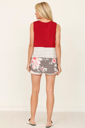 Burgundy Floral Sleeveless Color-Block Top