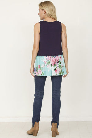 Navy & Mint Floral Sleeveless Tunic