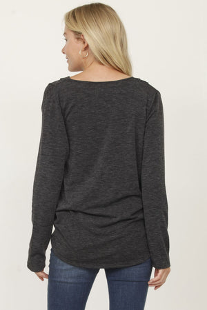 Charcoal Surplice Front Knit Top